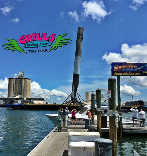 grills seafood deck menu spacex falcon9 arrives back in port canaveral grills