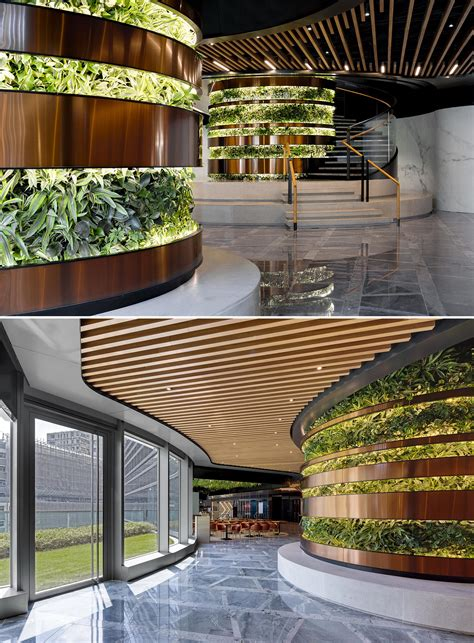 Columns Of Plants Create Vertical Gardens Inside This Building