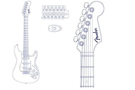The Pdf Template Fender Stratocaster Standerd Headstock by Fender Stratocaster Headstock Template Fender Stratocaster
