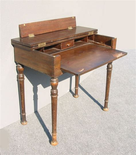 desk with slide out table rustic antique folding top writing desk w pull out table