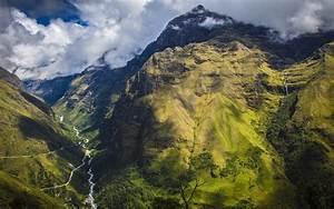 Nature, Landscape, Mountain, Clouds, Waterfall, Grass