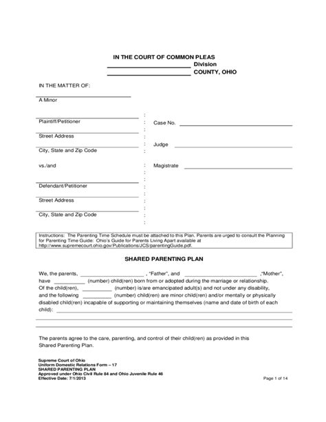 joint custody agreement template shared parenting plan free