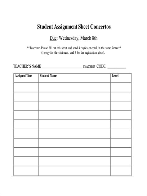 assignment sheet examples samples   examples