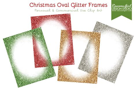 oval christmas frames oval glittery frames illustrations on creative market