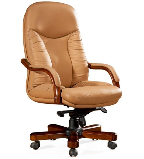 office chair in beige black genuine leather finish by