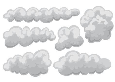 Conjunto de ícone nublado e nuvens em desenho animado e