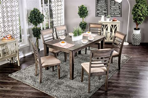 taylah weathered gray  piece dining set  furniture