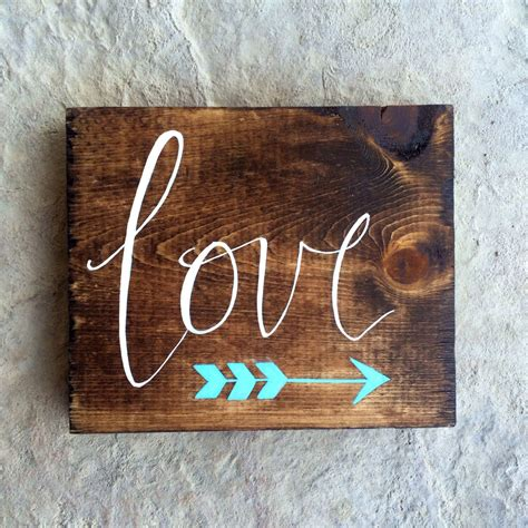 custom small hand painted wooden love sign  arrow