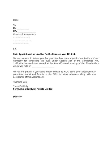 auditor appointment letter format docsharetips