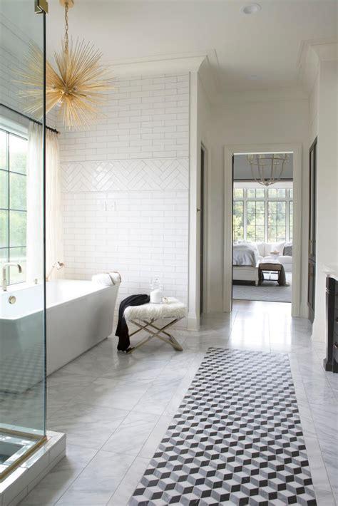 traditional white master bathroom  white subway tile