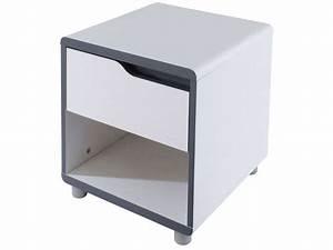 Table De Chevet Wengé : chevet 1 tiroir moby coloris blanc gris vente de chevet ~ Teatrodelosmanantiales.com Idées de Décoration