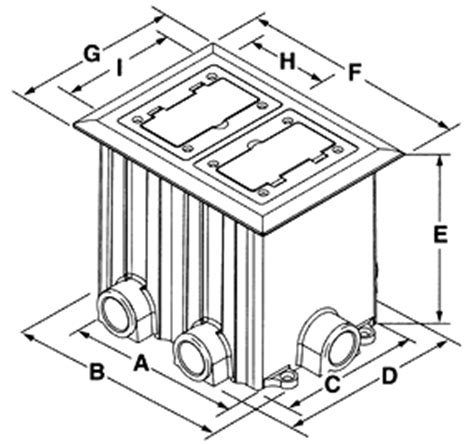 hubbell floor boxes pdf dimensional drawing