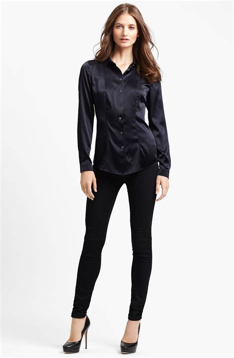 burberry blouse burberry stretch satin blouse in blue ink lyst