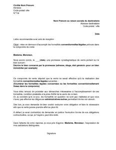lettre mise en demeure vente immobiliere document - Modele De Lettre Substitution Compromis De Vente