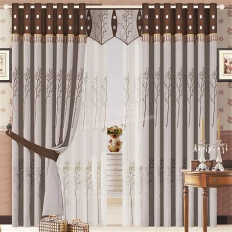 traditional tree brown linen ready made curtains