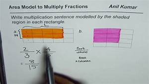 Area Model To Write Multiplication Statement Of Fractions From Diagram