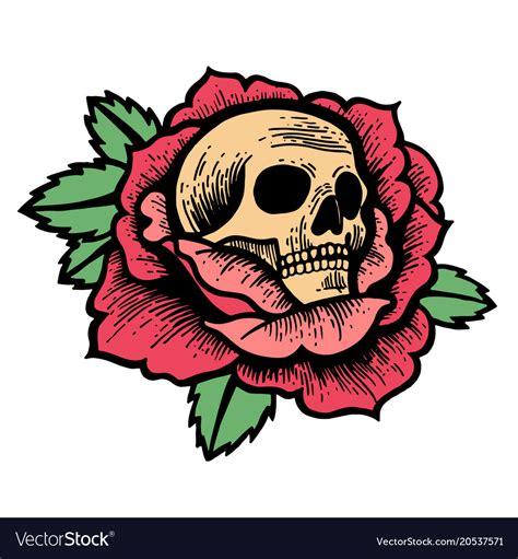 school rose tattoo  skull royalty  vector image