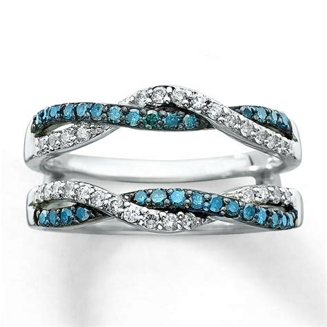 blue solitaire engagement ring enhancer wrap 14k white gold 1 2 ctw ebay