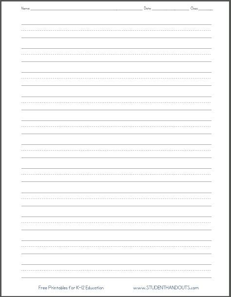 Dashed Line Handwriting Practice Paper Printable Worksheet For Primary School Kids Home