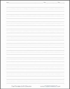 Four line writing paper printable printable pages for Learning to write paper template