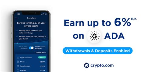 Crypto.com cryptocurrency app and exchange. Crypto Earn: Now Earn up to 6% p.a. on ADA deposits, paid ...