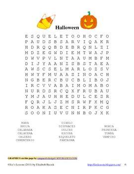 spanish halloween vocabulary  activities  lizs