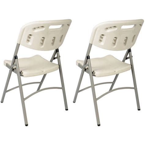 2 x moulded folding indoor outdoor plastic banquet chair