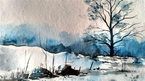 watercolor winter snow scene paint  david youtube