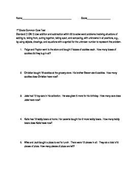 1st Grade Mathematics Common Core Test-Standard 1.OA.A.1 | TpT