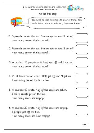 2 step word problems addition maths worksheets for year 2