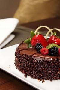 Chocolate Cake With Fresh Fruit Decoration. Stock Photo ...