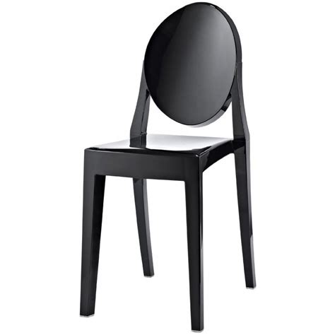 black ghost style plastic dining chair black