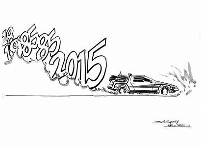 Future Hoverboard Sketch Coloring Pages Delorean Template