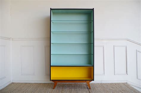 Light Blue Bookcase by Vintage Teak Yellow And Light Blue Bookcase For Sale At Pamono