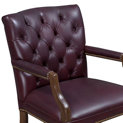 traditional walnut tufted leather side chair burgundy