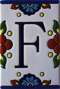 mission tile letter f With mexican tile letters