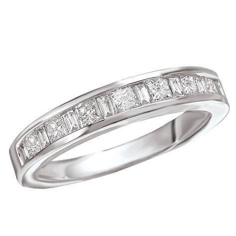 white gold princess cut baguette diamond band wedding