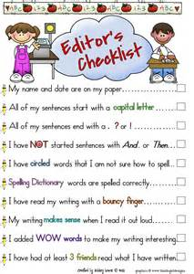 Writing Editing Checklist for Kids
