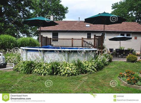 ground swimming pool stock photo image  trees