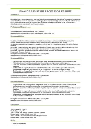 sample finance assistant professor resume