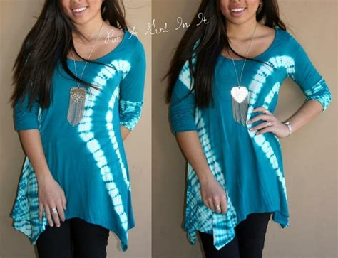 Plus Size Teal White Tie Dye Dyed Ruched 3/4 Sleeve Shirt