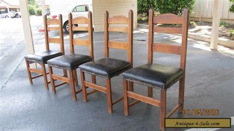 antique stickley mission style set of 4 ladder back oak