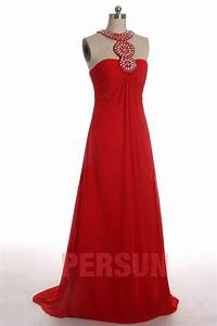 Robe Rouge Mariage Invité : robe rouge longue encolure en strass mousseline avec bretelles pour mariage ~ Farleysfitness.com Idées de Décoration
