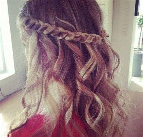 side plait curly hair style hair pinterest
