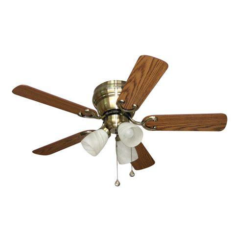 42 flush mount ceiling fan shop harbor breeze cheshire ii 42 in antique brass flush