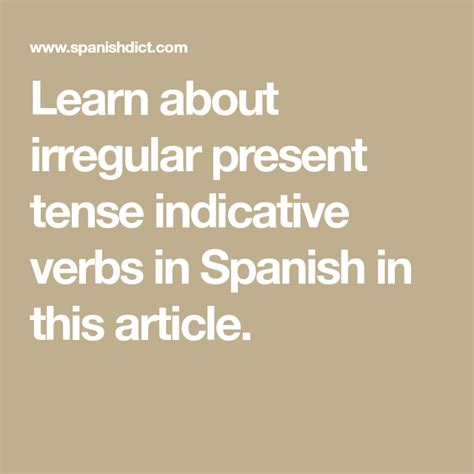 irregular present indicative verbs  spanish  images