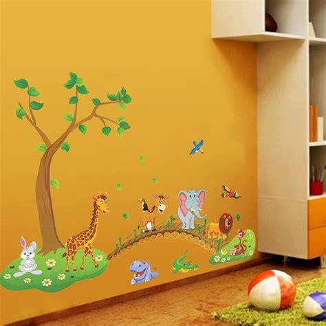 cartoon jungle wild animal tree bridge flowers wall