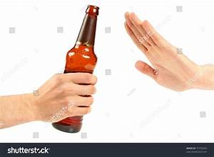 Hand Reject A Bottle Of Beer Stock Photo 75759343 ...