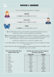 noun gender esl worksheet by preetichheda