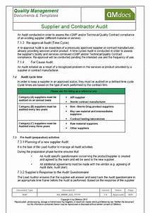 Vendor supplier and contractor audit for Supplier audit plan template